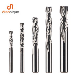 Compression milling cutter woodwork DOWN Cut Two Flutes Spiral Carbide Milling Tool CNC Router Wood End Mill Cutter Bits