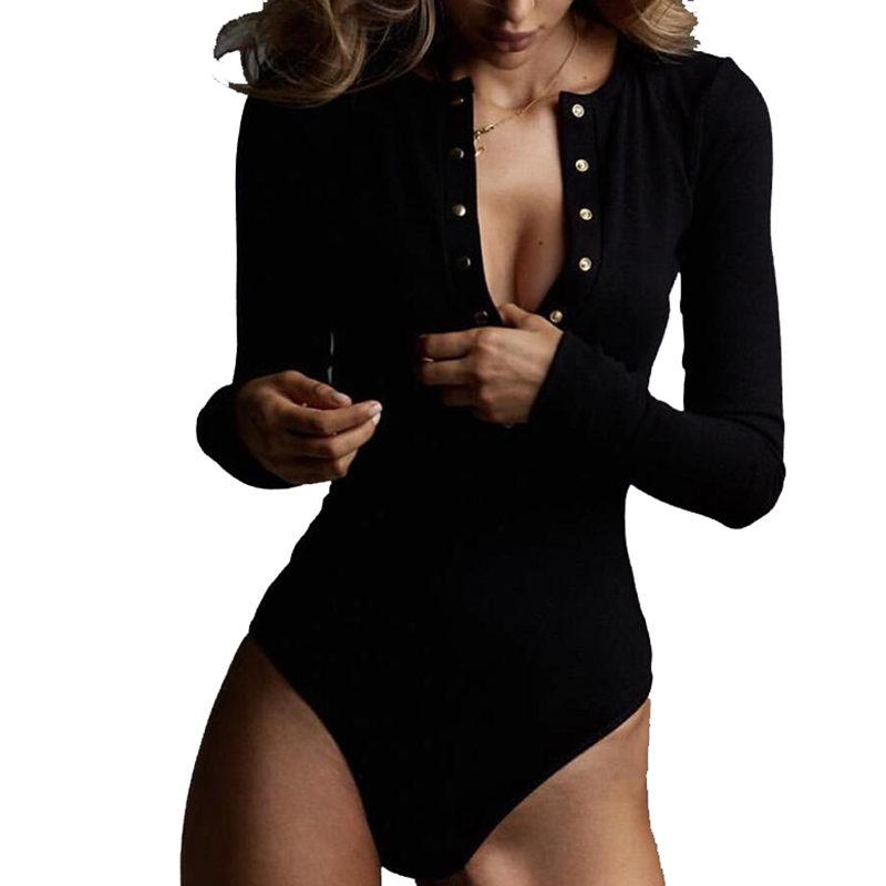 Winter Autumn Women Bodysuits Sexy Club Button-up Long Sleeve Body Mujer Femme Solid V Neck Knit Bodysuit One-piece Romper M0446