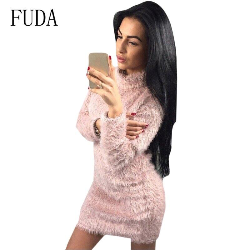 FUDA Explosive Furry Turtleneck Long Sleeve Sweater Dress Autumn Femme Pullover Soft Jumper Womn Elegant Bodycon Dresses