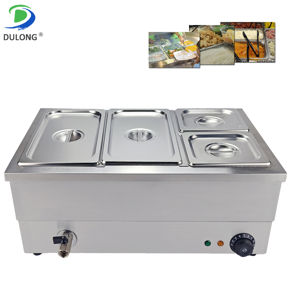 New Condition Bain Marie 1500W Durable Stainless Steel Buffet Food Warmer 4 Tanks Electric Soup Pot For Restaurant Catering