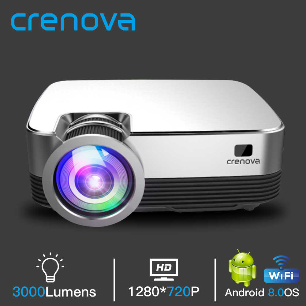 Crenova Hot Sale Android Proyektor Video Q6 1280*720P Resolusi Asli dengan Android 8.0 WIFI Bluetooth Home Cinema film Beamer