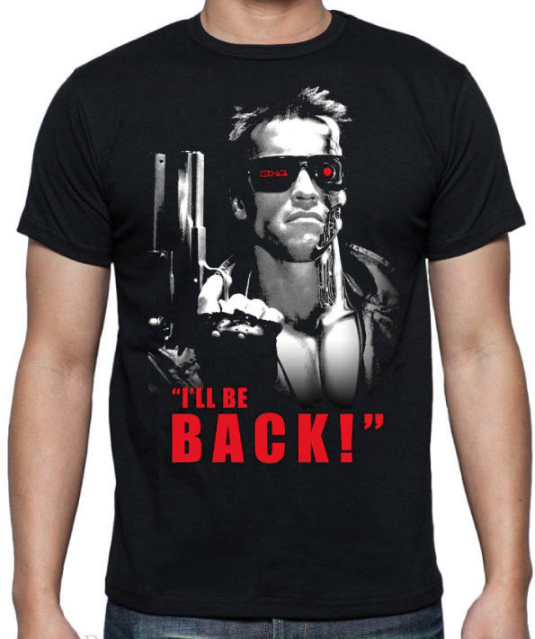 Terminator I'Ll Be Back Arnold 80'S Classic Sci Fi Action Movie Black T Shirt 2018 New Summer Men Hot Sale Fashion image