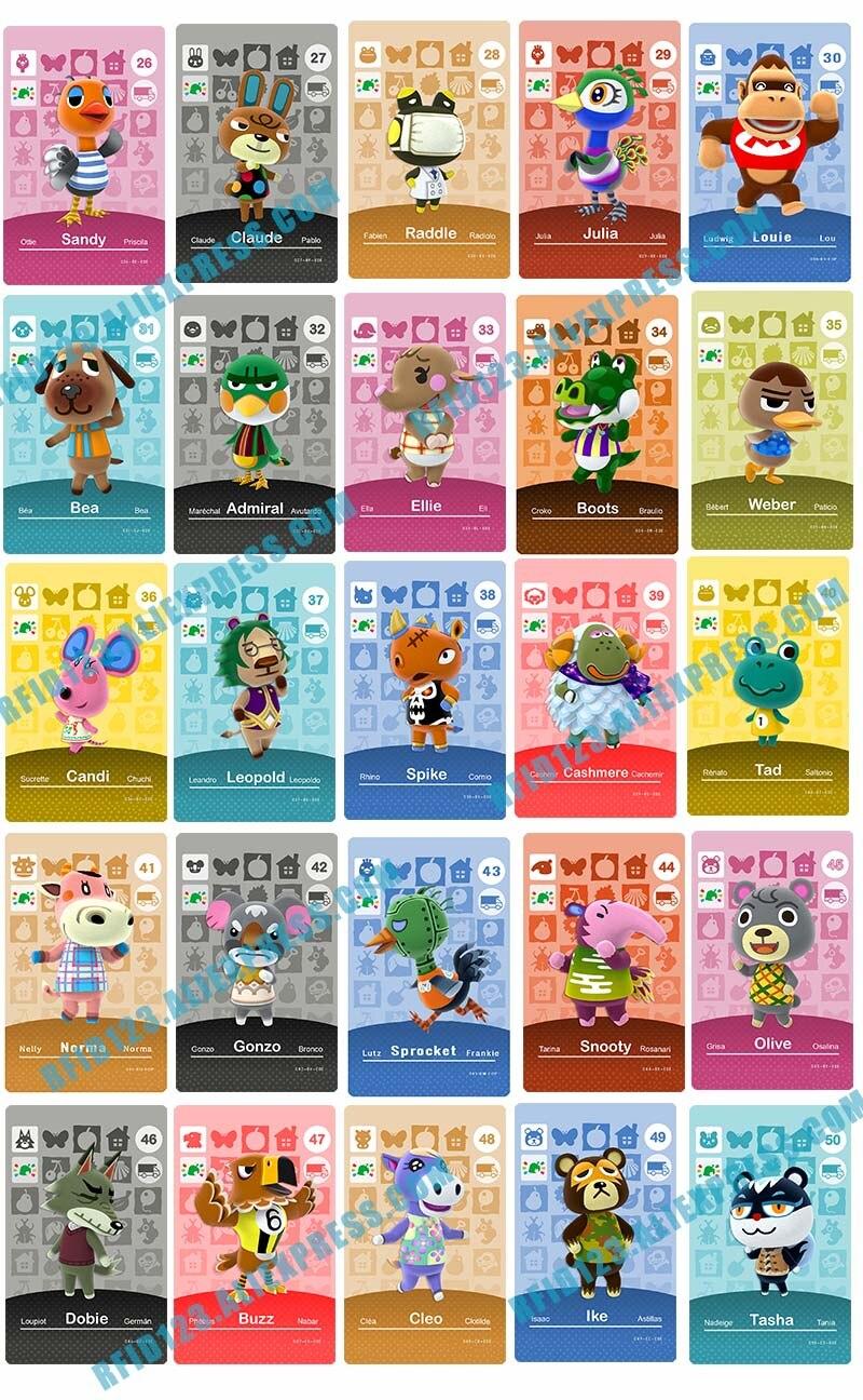Custom Design Animal Crossing Amiibo Card Welcome Amiibo New Leaf(1-25)