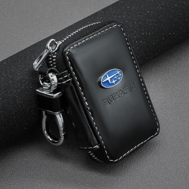 Leather Key Wallets Zipper Car Key Holders Buckle Key Case Housekeeper Holder For Subaru Forest Human Lion XV Impreza WRX WRC