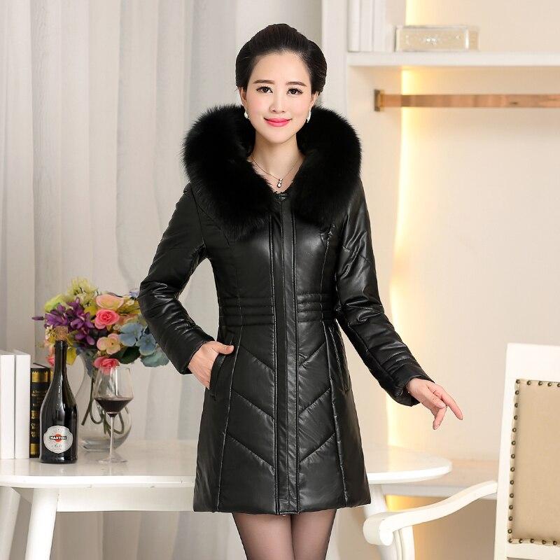 Большой размер 8XL 2019 зимняя куртка из искусственной кожи женские толстые теплые длинные парки с капюшоном и меховым воротником зимнее пальто женские парки - 2