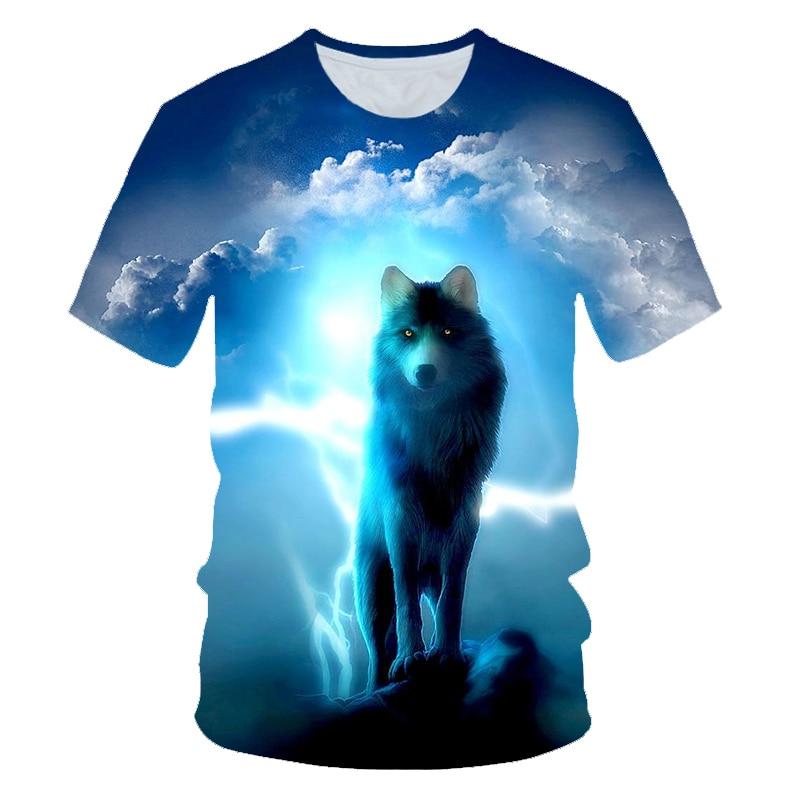 4-14 Years Old 2019 Summer Children 3D T-shirt Kids Animal Wolf Galaxy Cloud Moon Funny Printed T Shirt Boys Girls Tshirts Tops