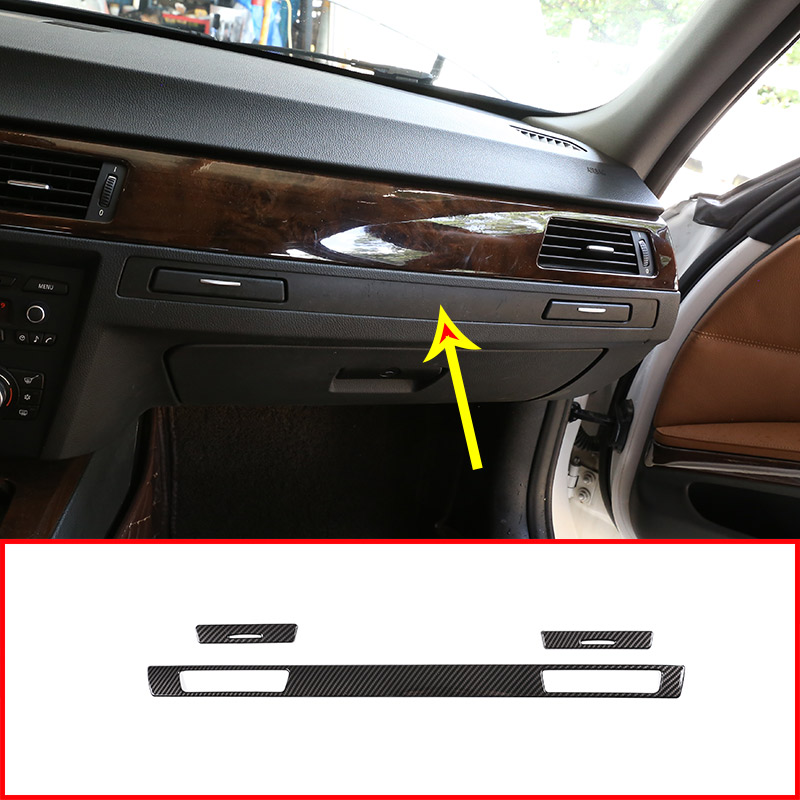 Carbon Fiber Style ABS Dashboard Cup Holder Decoration Strips Trim Stickers For <font><b>BMW</b></font> 3 Series <font><b>E90</b></font> E92 2005-2012 Left Hand Drive image