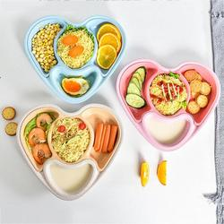 Newborn Baby Feeding Bowl Heart-shaped Dinner Dish Drain Food Plate Children's Tableware Eating Learning Ecological Dishes