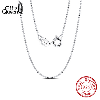 Effie Queen 1.2mm Ball Bead Chain Necklace for Pendant 40-50cm 925 Silver Necklace Woman Man Fine Jewelry Gift Wholesale SC24 classic cross pendant necklace for man women snake chain silver plated jewelry gift dropshipping wholesale