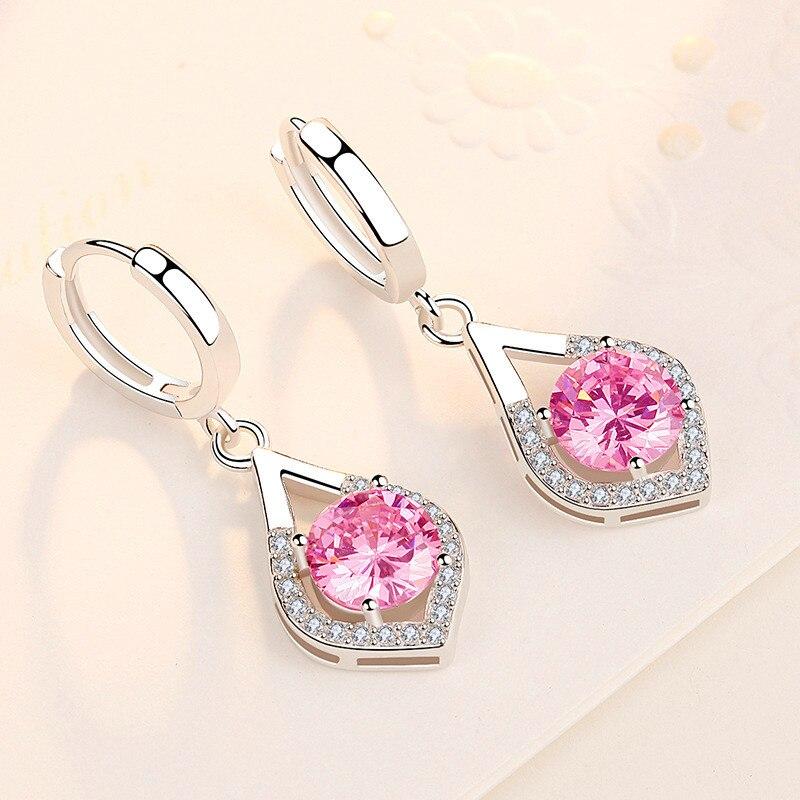 Dainty Female Pink Crystal Drop Earrings Classic Silver Color Hoop Earrings Luxury Bridal Round Wedding Earrings For Women