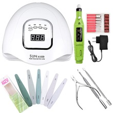 DIOZO Manicure Set For Nail 90W UV LED Lamp Dryer With 6Pcs Nail Files Nail Drill Machine Cuticle Pusher Manicure Tools Nail Set