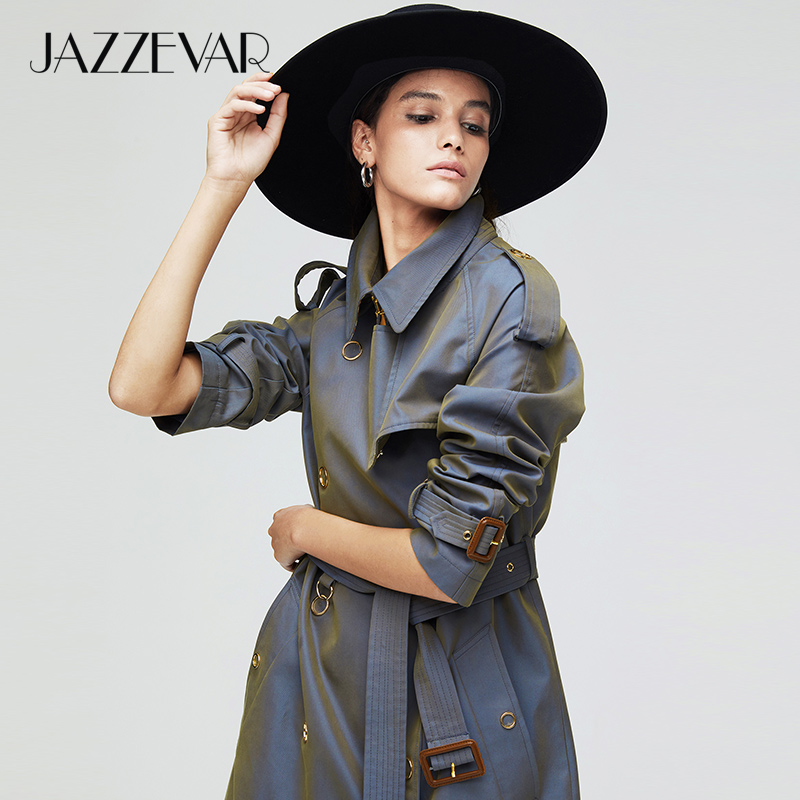JAZZEVAR 2019 New arrival autumn   trench   coat women loose clothing outerwear high quality double breasted women long coat 9024