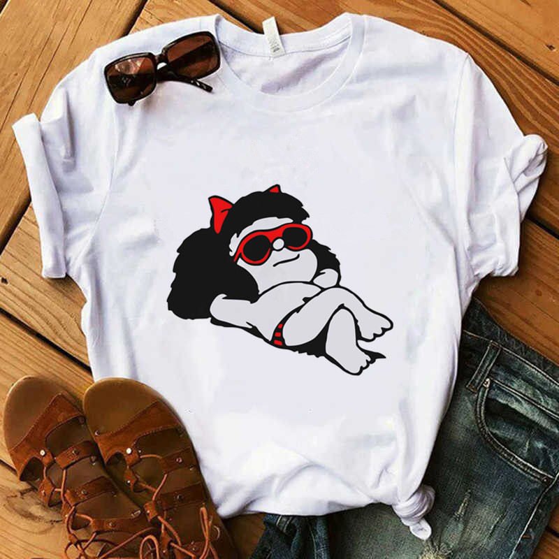 Short Sleeve Quino T-Shirt Women'S Pkorli PAZ Mafalda T-Shirt Women Kawaii O-Neck Funny T Shirts Women Tops Tee Camiseta Mujer