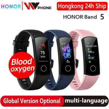 Versión global Honor band 5 smart band AMOLED ritmo cardíaco fitness sueño natación deporte oxígeno sangre tracker