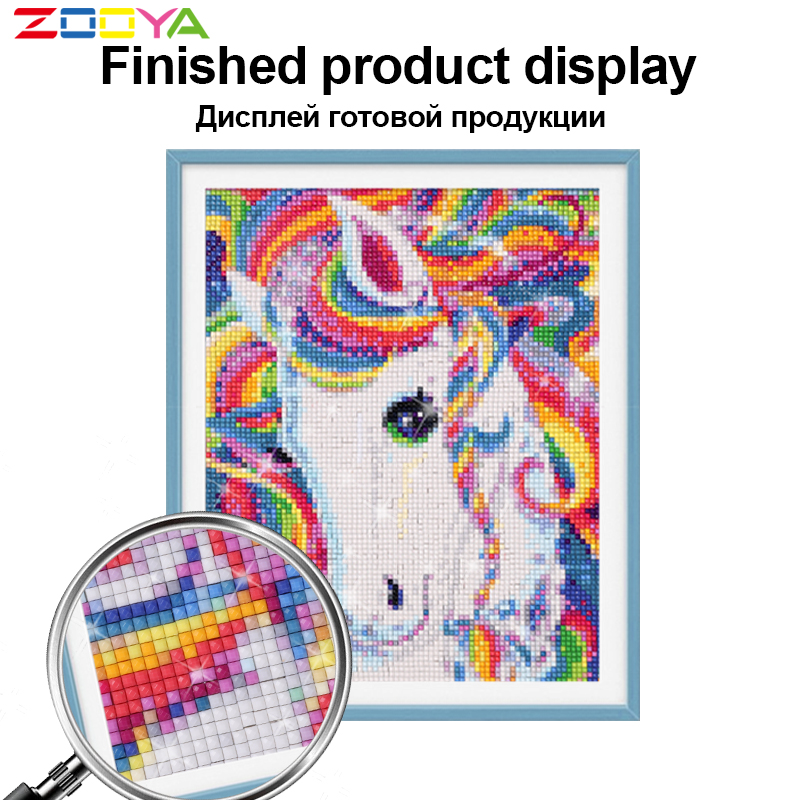 Image 3 - ZOOYA 5D DIY Diamond Embroidery Brown Couple Horse Diamond Painting Cross Stitch Full Square Rhinestone Mosaic Decoration BK274-in Diamond Painting Cross Stitch from Home & Garden
