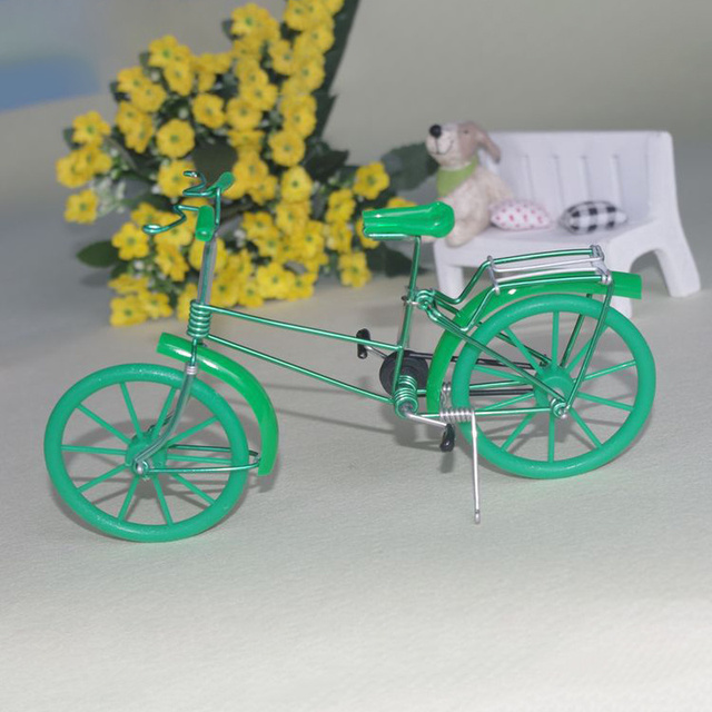 Creative Handmade Iron Bicycle Decoration Crafts for Home Office Gifts Figurines Miniatures Blue Pink Purple Small Bike Model 3