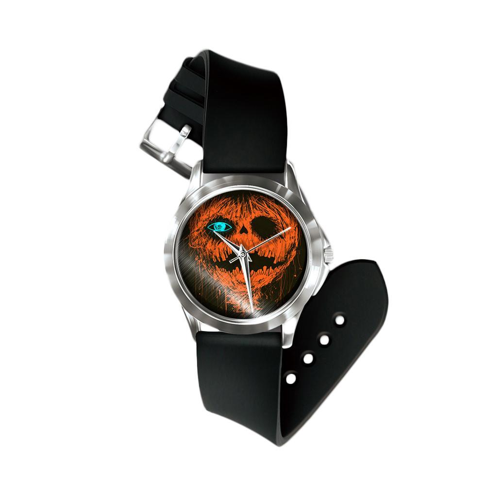 Halloween Unisex Pumpkin Bat Pattern No Number Analog Quartz Wrist Watch Festival Watch Gift For Women Men Erkek Kol Saati