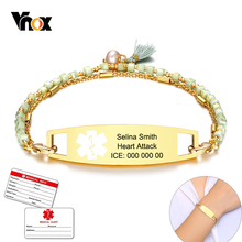 Vnox Böhmen Quaste Charme Medizinische Armband für Frauen Personalisierte EIS Gold Farbe Edelstahl Tag Notfall Erinnerung Schmuck