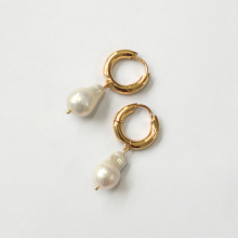 Peri'sBox 2019 Natural Baroque Freshwater Pearl Drop Earrings Gold Small Circle Large White Pearl Earrings for Women Pearl Charm [zhixi] fine 9k yellow gold jewelry long tassel pearl earrings natural big baroque pearl drop earrings for women party eb41