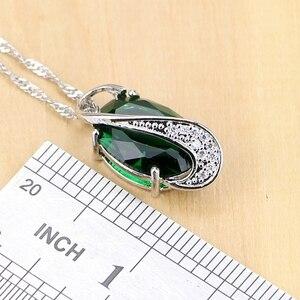 Image 3 - 925 Sterling Silver Jewelry Green Zircon White CZ Jewelry Sets Women Earrings/Pendant/Necklace/Rings/Bracelet T225