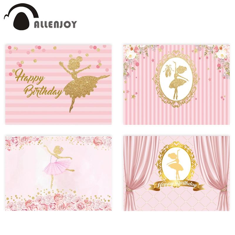 Allenjoy фоны для фотосъемки день рождения балетные костюмы для девочек Золотое Платье с цветами в розовую полоску Фоны фотографии платье прин...