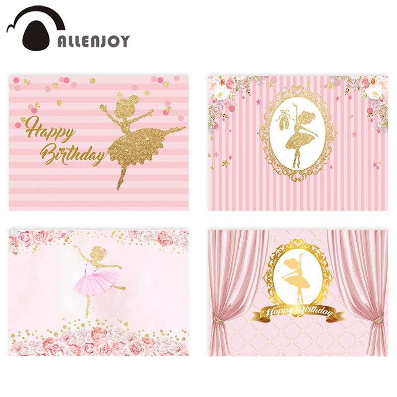 Allenjoy Birthday Backdrops Ballet Girl Golden Flower Pink Stripes Backgrounds Photography Princess Baptism Party Decor Curtain