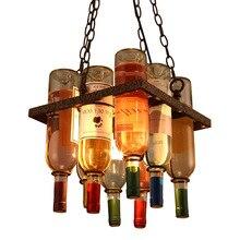 Vintage Retro Loft DIY botella de vino lámpara colgante de hierro reciclado DIY lámpara colgante E27 lámpara colgante tienda café iluminación de Bar accesorio