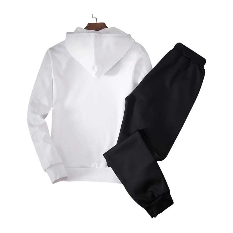 2019 2 ADET Hoodies Erkekler İlkbahar Sonbahar Polar Astar kapüşonlu eşofman üstü + Sweatpants Erkek Marka Streetwear Katı Sıcak 2 Parça Hoody