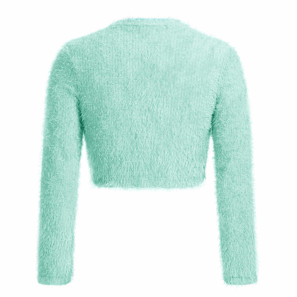 Jaycosin 여성 스웨터 패션 가을 봄 겨울 v-목 스웨터 짧은 작물 여성 단색 긴 소매 모피 캐주얼 스웨터