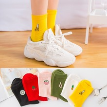fashion Cute Cartoon Fruit Print Avocado Banana Cherry Peach Girls Kawaii Socks meias Korean Harajuku Embroidery Funny Socks cute cartoon fruit print avocado banana cherry peach girls kawaii socks meias korean harajuku breathable pile heap funny socks