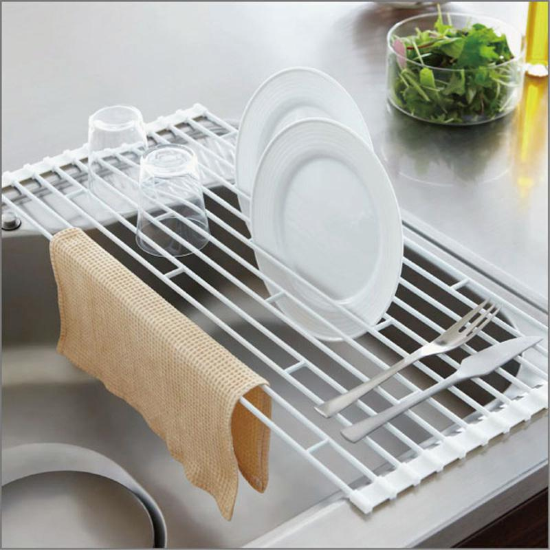 Foldable Kitchen Roll Up Dish Drying Rack Stainless Steel Over Sink Fruit Vegetable Drainer Bowl Storage Holder Rack Organizer