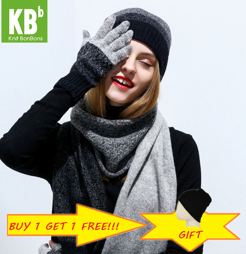 2019 KBB Women Hat Scarf Gloves Set Knitted Wool Lambswool  Man Unisex Women Scarf Hat  Gloves With Beanie Hats For Winter