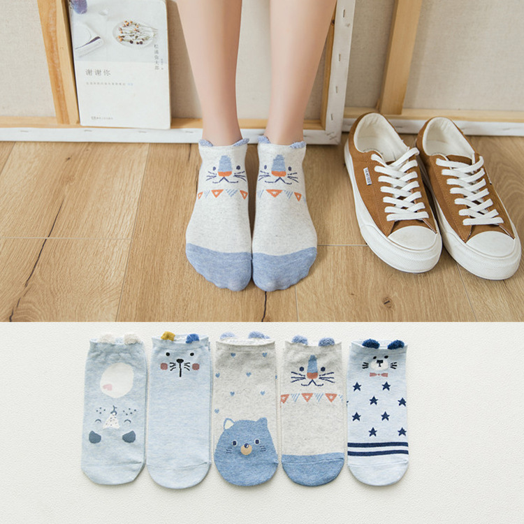 H42da158371a54ba6bd8dc5b3123db163Y - 5Pairs/Lot Summer Korea socks women Cartoon Cat Fox mouse Socks Cute Animal Funny Ankle Socks Cotton invisible socks