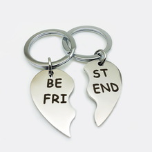 1Pair Best friends keychain Stainless Steel  key chain keyring friendship jewelry gift for women girls
