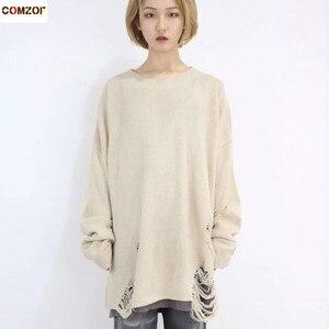 Image 1 - Printemps automne femmes mode hip hop punk pull avec trou déchiré hommes style Coréen surdimensionné pulls vintage pullover décontracté