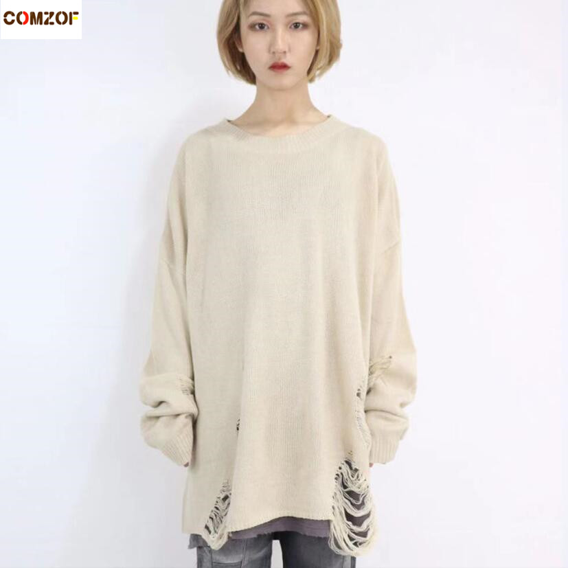 Spring Autumn Women Fashion Hip Hop Punk Sweater With Ripped Hole Men Korean Style Oversized Jumpers Vintage Casual Pullover