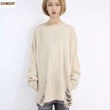 Wiosna jesień kobiety moda hip hop punk sweter z zgrywanie dziura mężczyźni koreański styl ponadgabarytowych swetry w stylu vintage luźny pulower