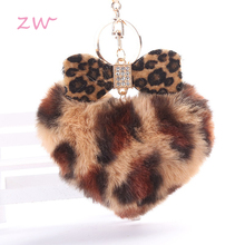 Leopard Print Pompom Fluffy Fur Ball Keychain Women Handbag Pendants Car Key Ring Lovely Heart Shape Crystal Bowknot Chains