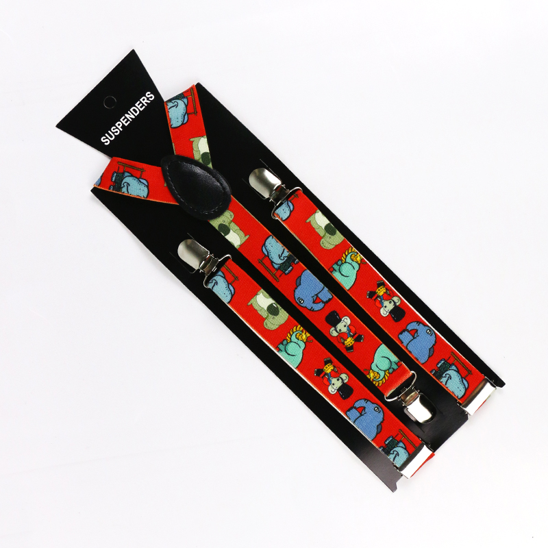 Winfox  Adjustable Adult 3 Clips On  Cute Red Elephant  Animal Print Suspenders Braces For Men Women