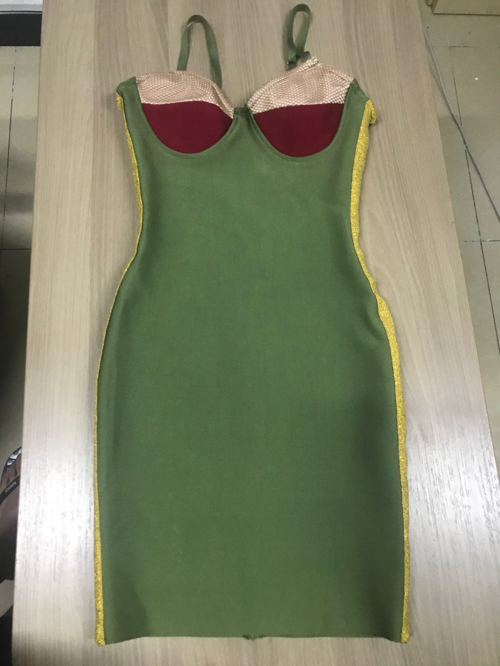 Kim Kardashian High Quality Vintage Green Colorblock Khaki Burgundy Bra-style Neckline Bustier Bodycon Party Dress Vestidos - kim-kardashian-outfits-dresses