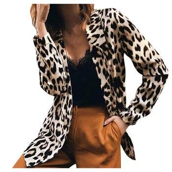 JAYCOSIN Women Loose Leopard Blazer Top Long Sleeve Casual Jacket Ladies Office Work Wear Coat Blouse Autumn Cardigan Blazers