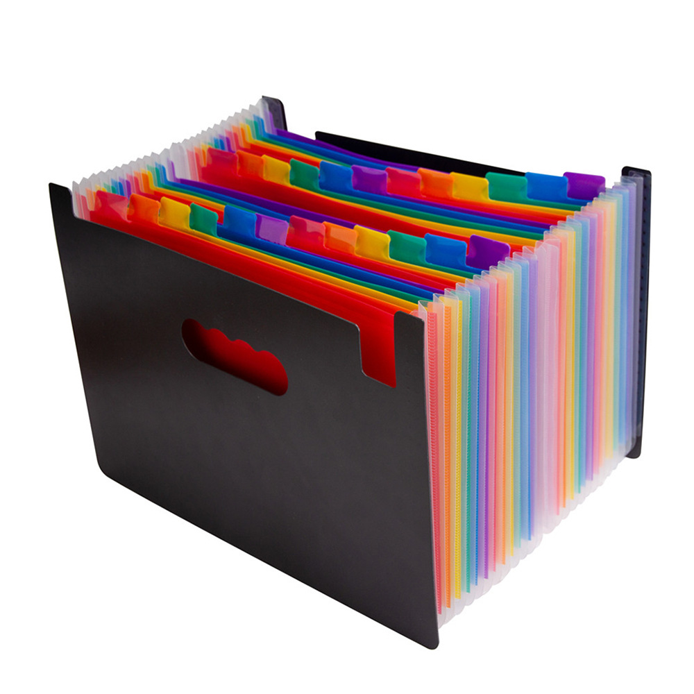 12 Pockets Expanding File Folder A4 Letter Size Portable Document Holder Black Filing Folder Desk Storage Accordion File Product