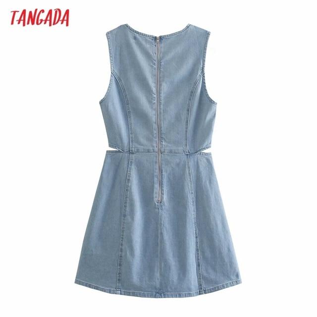 Tangada Women Solid Denim Blue Cut-out Dress Sleeveless 2021 Korean Fashion Lady Elegant Dresses Vestido 6P51 6