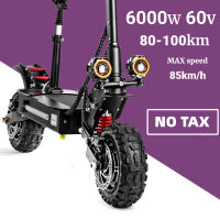 Patinete eléctrico plegable para adultos, Scooter de 6000 W y 11 pulgadas con neumático ancho, Motor de Doble accionamiento de alta velocidad, Cross Country