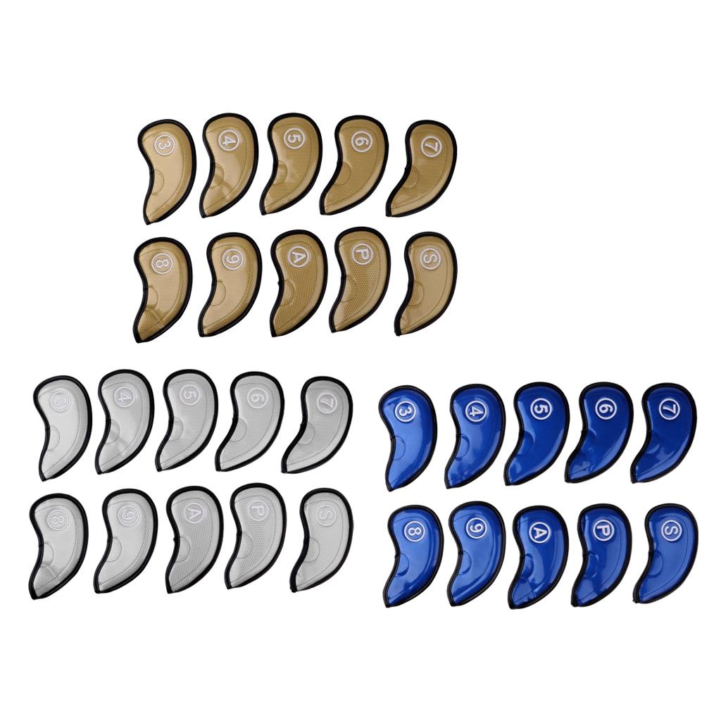 10Pcs Golf Iron Head Covers Set Waterproof PU Leather Club Headcovers Golf Putter Headcover Replacement Golf Accessories