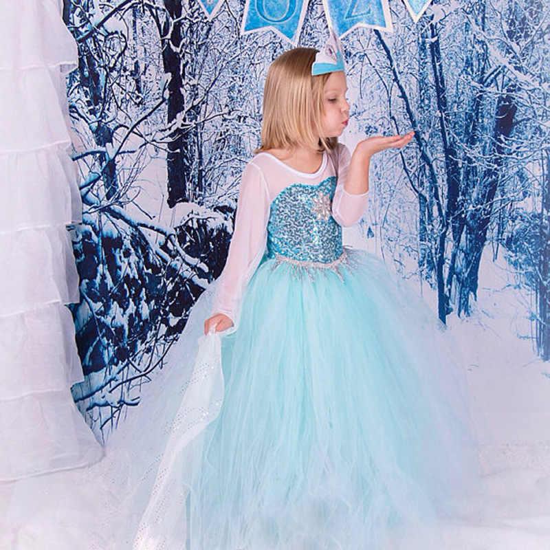 Elsa Vestido de Malha Manga Comprida Princesa Traje Rainha da Neve Vestido Cosplay Chrismas Festa de Halloween vestido de Baile Crianças Vestido Com Cristal