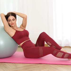 Image 4 - Womens Seamless Gym Clothing Yoga Set Fitness Workout Suit Outfits For Female Running Athletic Leggings Tight Sportswear New