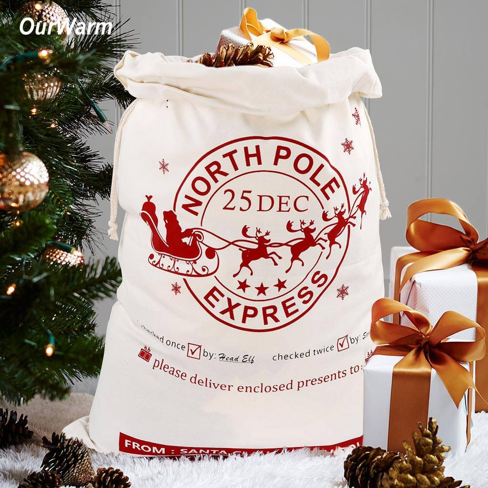 OurWarm Canvas Santa Bags With Drawstring Christmas Gift Large Hessian Burlap Christmas Sacks New Year Supplies 50X70cm