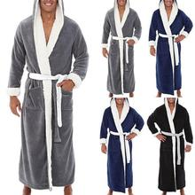 Men Fleece Long Bathrobe Hooded Bath Robe Dressing Gown Soft Nightgown Nightwear Warm Winter