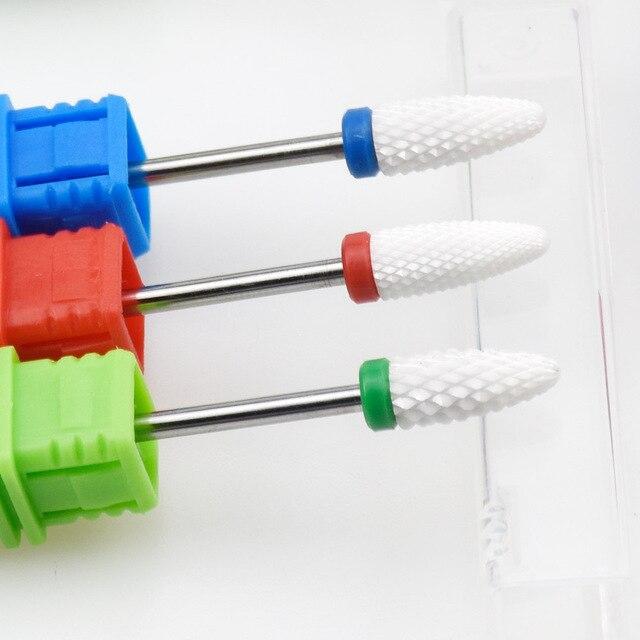 Blue Tungsten Round Flame Nail Drill Bit Carbide Milling Cutter Manicure Ceramic Drill Bits Electric Machine Nail Accessories 3